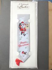 Cash's Woven Bookmark FATHER CHRISTMAS Santa Claus Snowy Robin Unused on Card