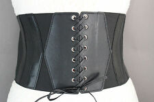 Women Black Elastic Fashion Wide Corset Belt Hip High Waist Faux Leather Hot S M