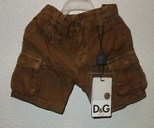 DOLCE GABBANA JUNIOR kids CARGO SHORTS BERMUDA BROWN BEIGE SIZE 6/9 new