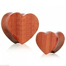"""PAIR-Wood Red Cherry Heart Double Flare Plugs 14mm/9/16"""" Gauge Body Jewelry"""