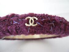 CHANEL 3 Gold CC Logos Tweed Bangle Cuff Bracelet Size Medium NWT