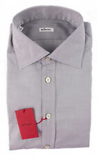 New KITON Italy Gray Solid Extrafine Woven Cotton Dress Shirt 17 43 XL NWT $595!