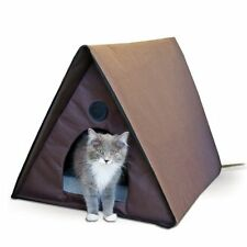 New K&H Manufacturing Outdoor Multi-Kitty A-Frame Heated Cat House Pet Home Tipi