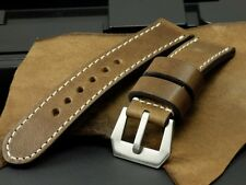 SV Vintage Wooden Brown Cow Leather 24mm Panerai Watch Strap Band + GPF Buckle