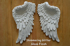 VINTAGE ANTIQUE SHABBY CHIC SHIMMERING CREAMY WHITE ANGEL WINGS WALL DECORATION