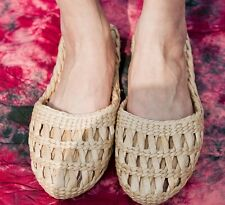Women Natural Straw Slipper Shoe Sandal Flip Flop Handmade Craft Bedroom Home