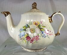 Vintage Sadler Teapot Off White Floral Bouquet Gold Trim England Signed Numbered