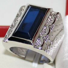 Size 11/V  Mens Stainless Steel Silver Wedding Jewelry HUGE Sapphire Band Ring
