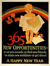 365 NEW OPPORTUNITIES - A HAPPY NEW YEAR ORIGINAL VINTAGE 1927 MATHER... Lot 176