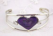 Alpaca Mexican Silver Cuff Bracelet Purple Abalone Heart Fashion Jewelry NEW