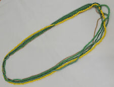 "5 Stand Necklace Lot 16"" Green & Yellow Seed & Plastic Beads Gold Chain"