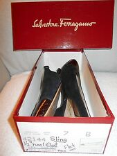 Near Mint Salvatore Ferragamo Ladies Black/Brown Suede/Patent Leather Slings 7B