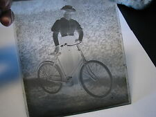 Lady cyclist bicycle (Reading area maybe) glass plate negative photo #8851