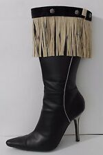 New Women Beige Boots Topper Faux Suede Leather Fringes Winter Flower Charm Pair
