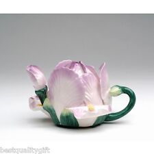 COLLECTIBLE 3D IRIS FLOWER PURPLE,LAVENDER & GREEN CERAMIC TEAPOT-8 OZ+BOX