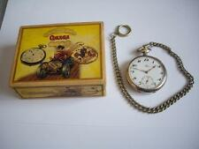 """""""OMEGA""""  Pocket Watch Silver Open Face Swiss Made 2 Adj. positions + box + chain"""