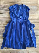 Banana Republic Blue Silk Wrap Dress Size 10 Petite Lined Short Sleeve Bright
