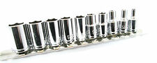 "NUOVO 1/4"" Chrome SAE Socket Set Shallow Drive 10pc AF prese su binario di fissaggio"