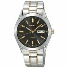 Mens Seiko Solar Gold Silver Stainless Steel Black Dial Watch Day Date SNE047