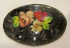 VINTAGE Russian Black Lacquer Hand Painted Red Yellow Green Flower Floral Pin
