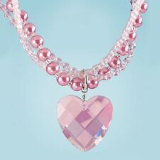 PINK AURORA BOREALIS CRYSTAL HEART RHINESTONE NECKLACE new PEARLS REG $40