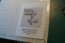 Vintage High Grade THE GAMES PEOPLE PLAY game puzzle catalog, 1979,10pgs