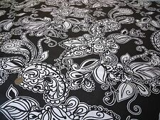 PRINTED COTTON-LARGE FLORAL PAISLEY-BLACK/WHITE-DRESS/CRAFT FABRIC -FREE P+P