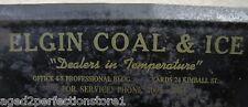 Antique 1930s ELGIN COAL & ICE Co Adv Dust Pan 'Dealers in Temperature' Illinois
