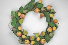 GISELA GRAHAM CHRISTMAS BEADED FRUIT GREEN LEAF ACRYLIC WREATH 40cm