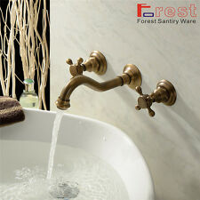 Wall Mounted 3PCS Antique Brass Basin Sink Vessel Faucet Mixer Taps for Bathroom
