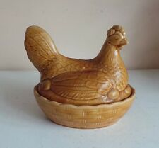 Vintage Brown Sadler Chicken Egg Holder Farmhouse Country Chic Kitchen Decor