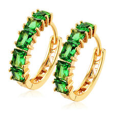 Fashion Womens Yellow Gold Filled Green CZ Lucky Korean Vintage Hoop Earrings