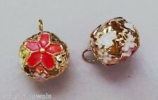 18mm Christmas Bells Cloisonne Red Poinsettia INTERCHANGEABLE Earring Charms