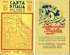 Carta d'Italia TOURING CLUB ITALIANO anni 30, nr. 6 - pubblicità Michelin