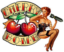 Sexy Pinup Girl Decal Waterslide Sticker Redheaded Cherry Bomb Bomber Art S1035