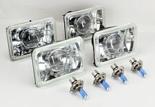 "FOUR 4x6"" Halogen Semi Sealed H4 Clear Projector Headlights Conversion Chevy"