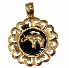 Elephant with Flower Pendant 18K Gold Plated with 20 inch Chain - Elephant