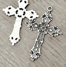 10Pcs Tibetan Silver jesus Cross Charms Pendants TS2584