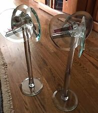 "Contemporary modern Art Glass Pair Eclectic handcrafted glass 14"" candlesticks"