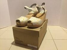 Maguba Of Sweden Size 40 Wood Clog Sandals Yellow Polka Dot /Natural Wedge
