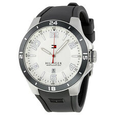 New Tommy Hilfiger Steel Gray Silicone Date Men Dress Watch 45mm 1790863 $115