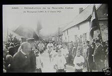 Glass Magic Lantern Slide RELIGIOUS PROCESSION AIRE NORMANDY DATED 1925 FRANCE