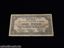 SCARCE Philippines 1943 One Peso Treasury Emergency Certificate Note