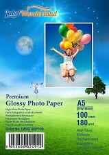 100 Sheets A5 High Quality High Gloss  180 gsm PREMIUM Photo Paper by LW