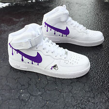 Custom Nike Air Force 1 Mid Size 10.5 Purple Reign Rain  OVO