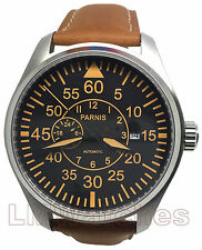 Parnis 44mm Black Dial Orange Miyota Automatic Sapphire Crystal New UK