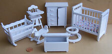 1:12th Scale 7 Piece White Nursery Set Dolls House Miniature Bedroom 269