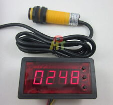 12V 4 Digit Red LED Counter Meter relay output+IR Photoelectric Proximity Sensor