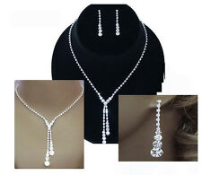 Silver Crystal Wedding Bridal Bridesmaid Dangle Necklace Earring Jewellery Set