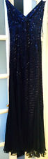 VGC MEDICI 100% SILK NAVY EMBELLISHED BEAD SEQUIN OCCASION DRESS SIZE 12